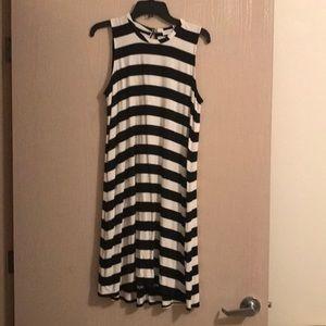 Calvin Klein black and white A line stripe dress